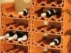 Nahaufnahme des Weinlagersystems