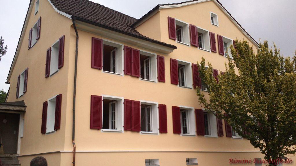 weisse Fenster und bordeauxfarbene Fensterlaeden