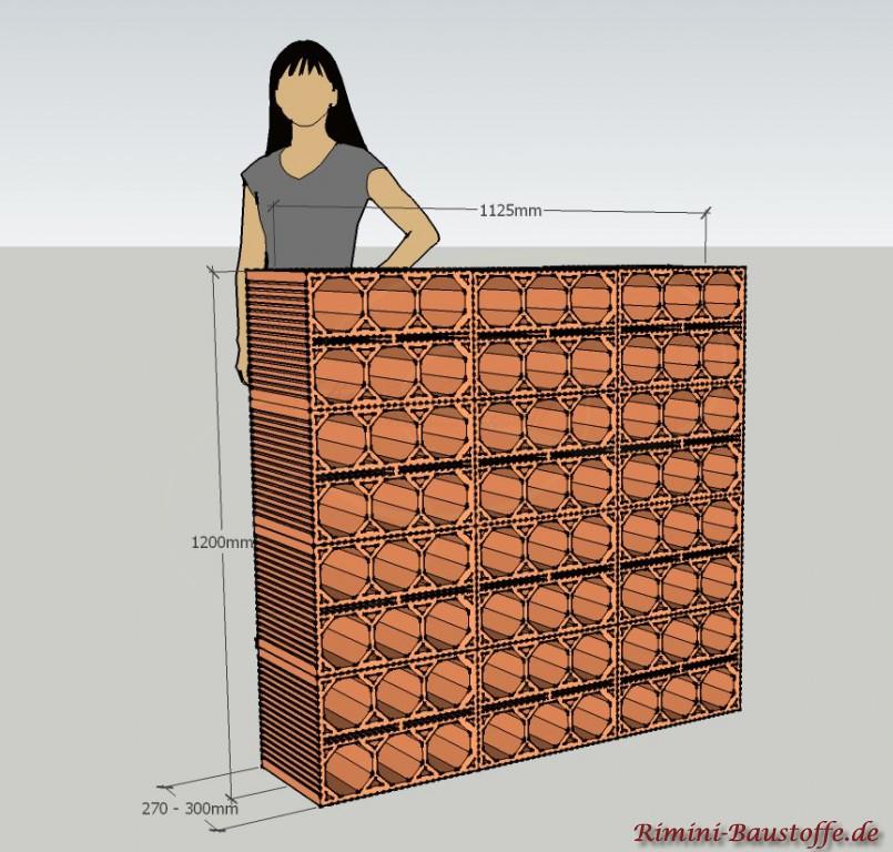 Skizze Weinlagerstein Massiv Mauer 3 x 4 Steine