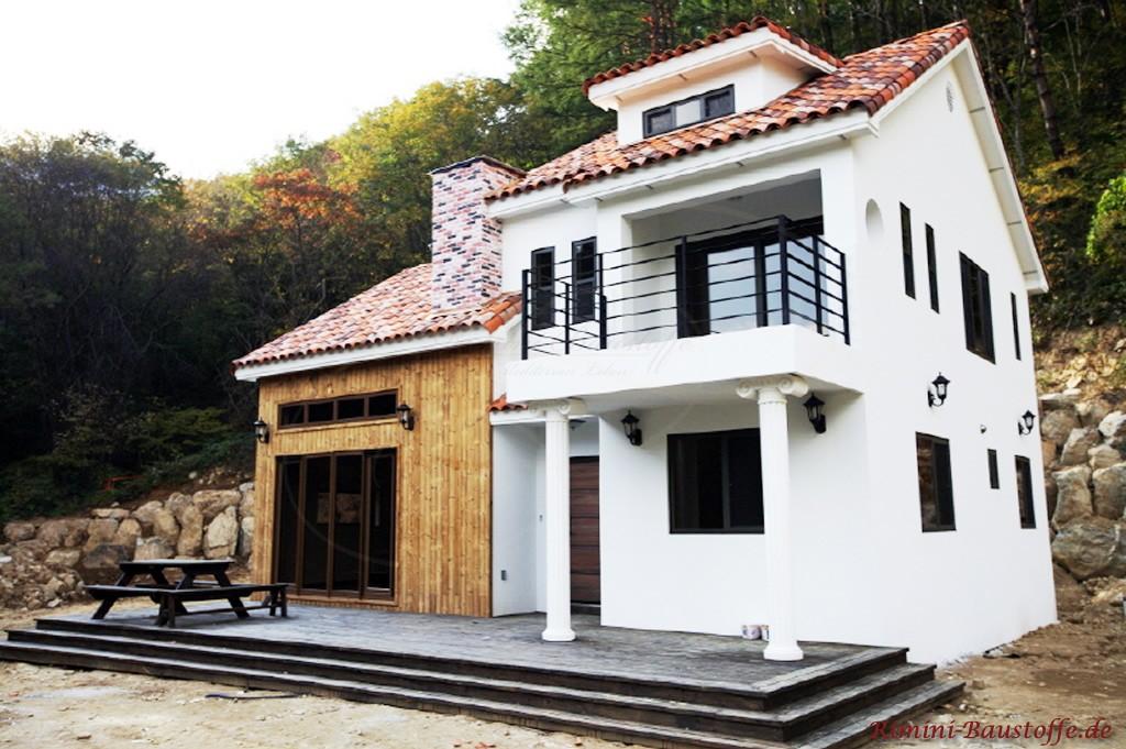 verschiedene Fassadentypen an einem Haus
