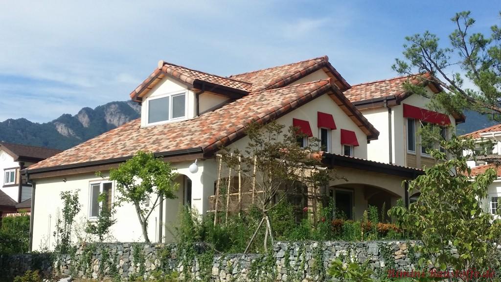 tolle Farbgestaltung des Daches zu dem weissen Putz