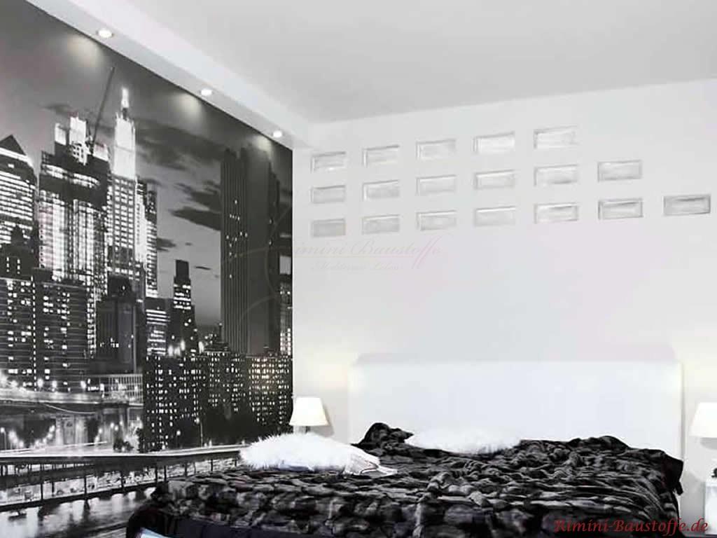 Glaselemente als Oberlichter im Schlafzimmer
