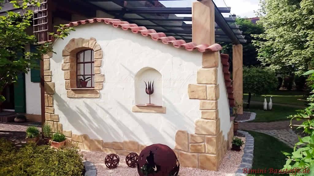 Sichtschutzmauer an der Terrasse