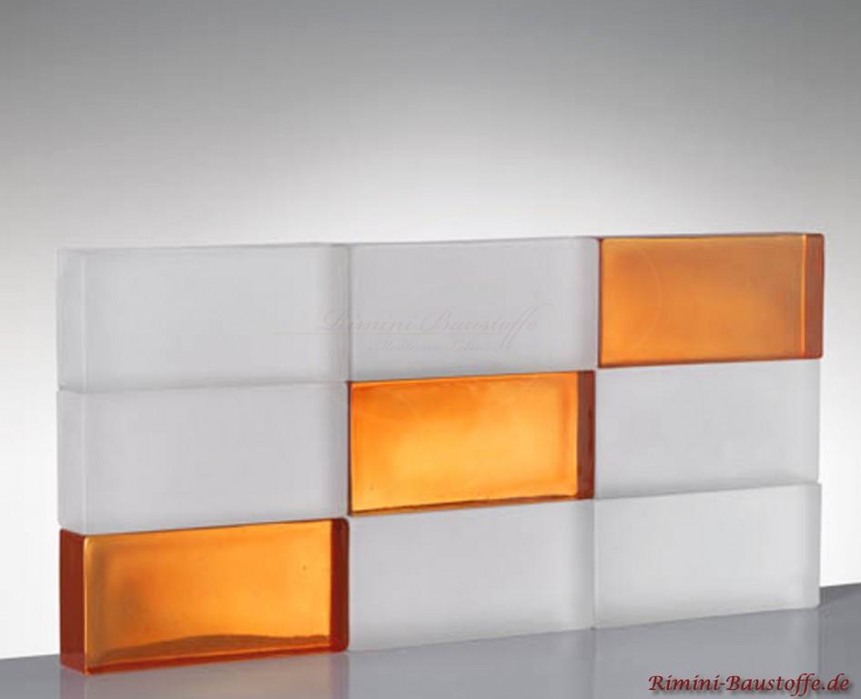 Glasbausteine Matt mit einem Orangen Muster