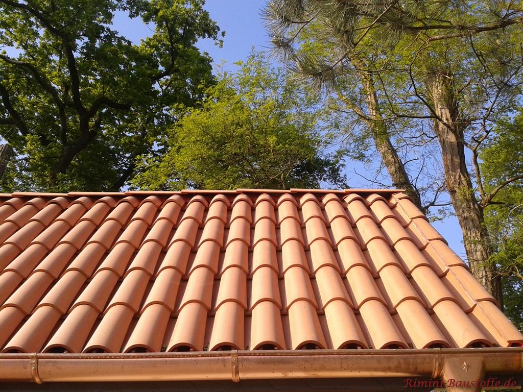 kleines Satteldach mit Halbschalen eingedeckt