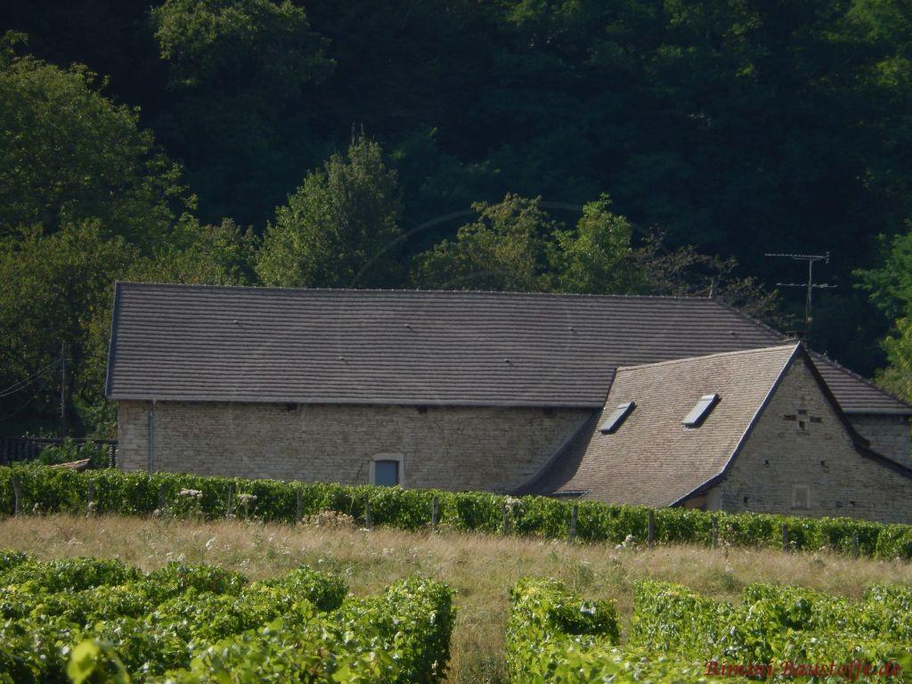 altes Gebaeude mit Natursteinfassade und neuem Dachziegel