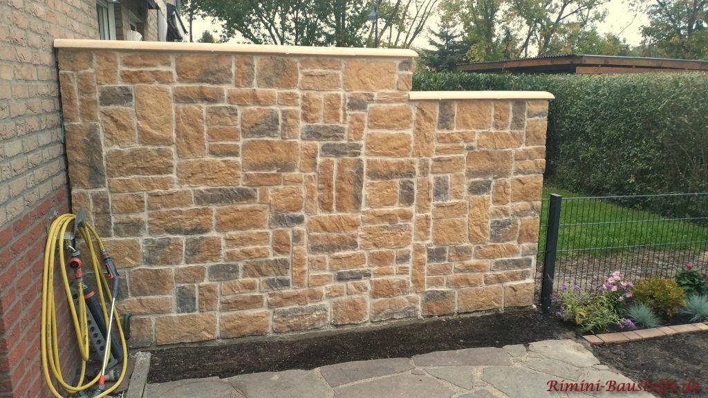 Mauerabdeckung beige mit abgerundeten Kanten