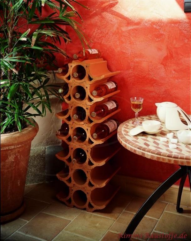 elegante geschwungene Weinlagersteine gestapelt