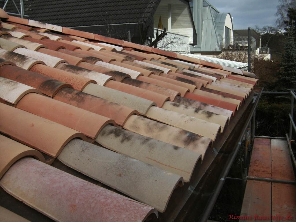 Herbstlaubmischung auf einem Dach entstanden durch mehrere gemischte Ziegelfarben mit alter Oberfläche