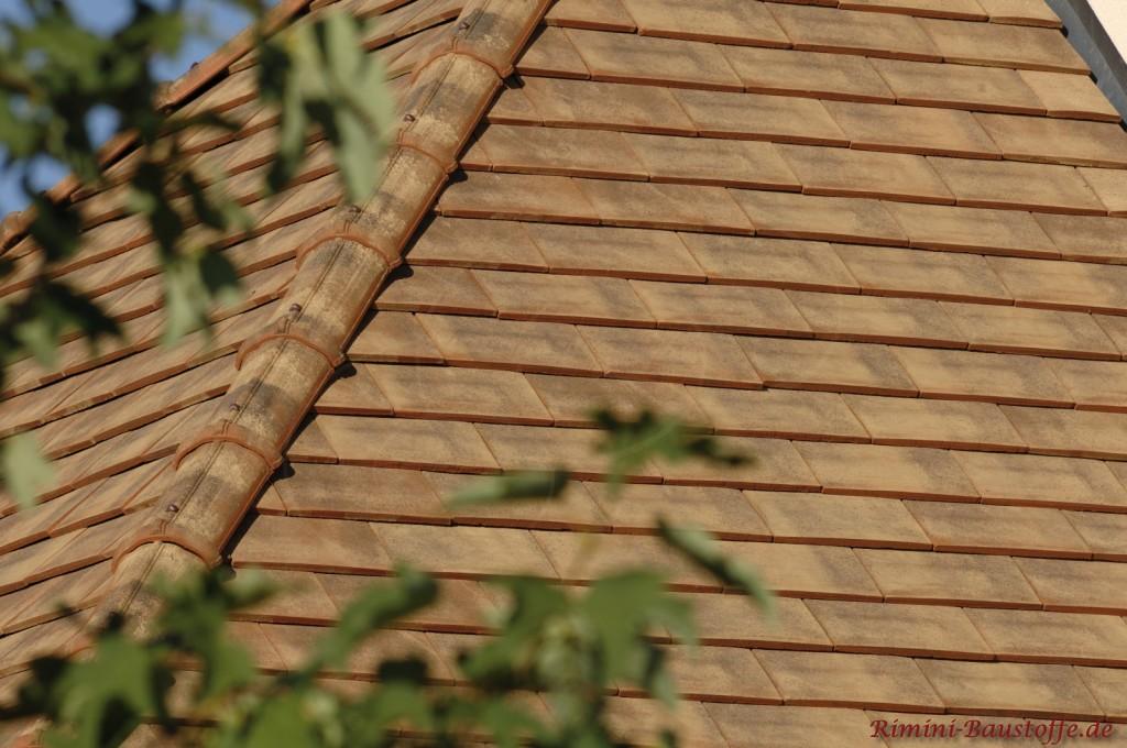 sandfarbener Glattziegel auf einem Zeltdach