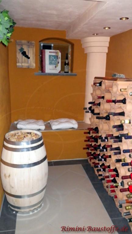 Weinregal aus geschwungenen Weinlagersteinen