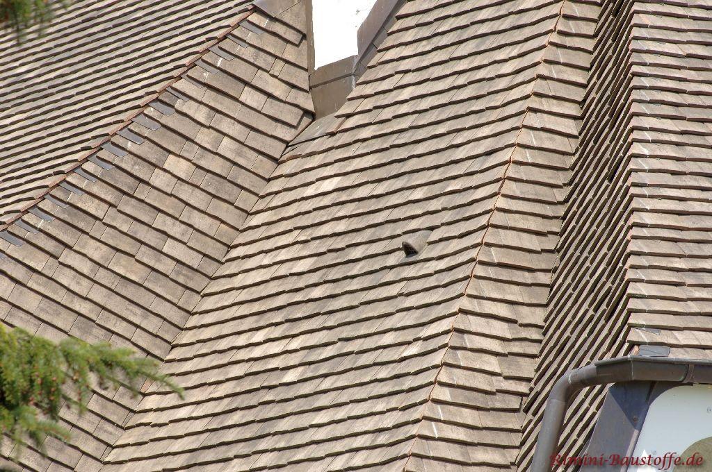 Mit dunklen Tonschindeln eindedecktes Dach. Zu sehen ist auch ein Flächenlüfter Nahaufnahme