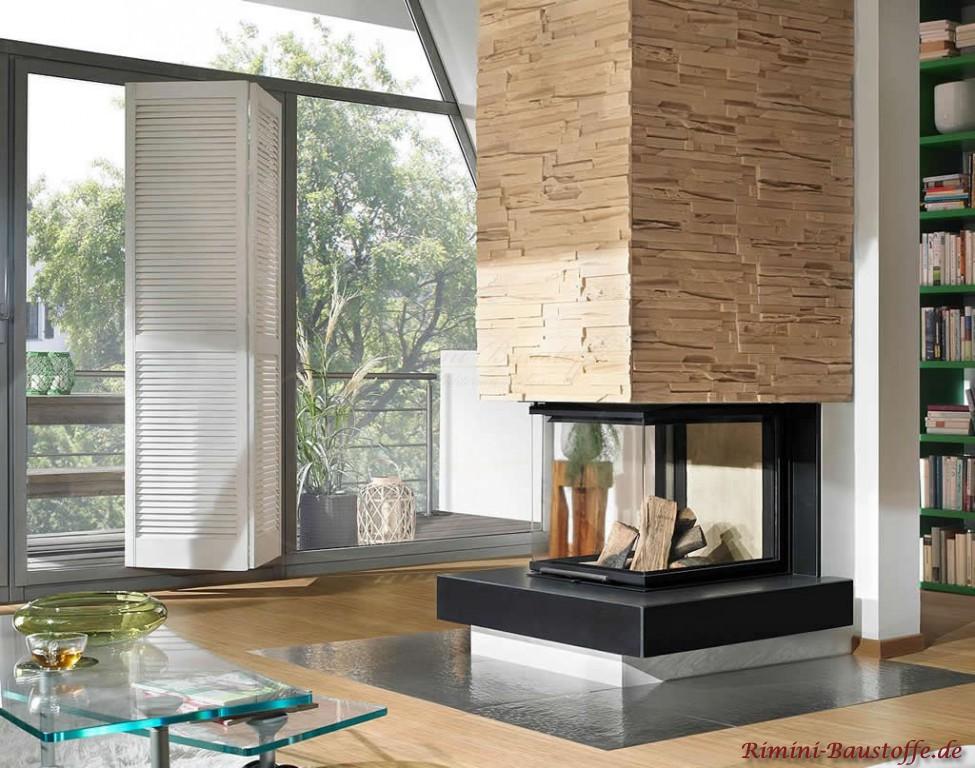 Kamin im Raum mit Natursteinoptik