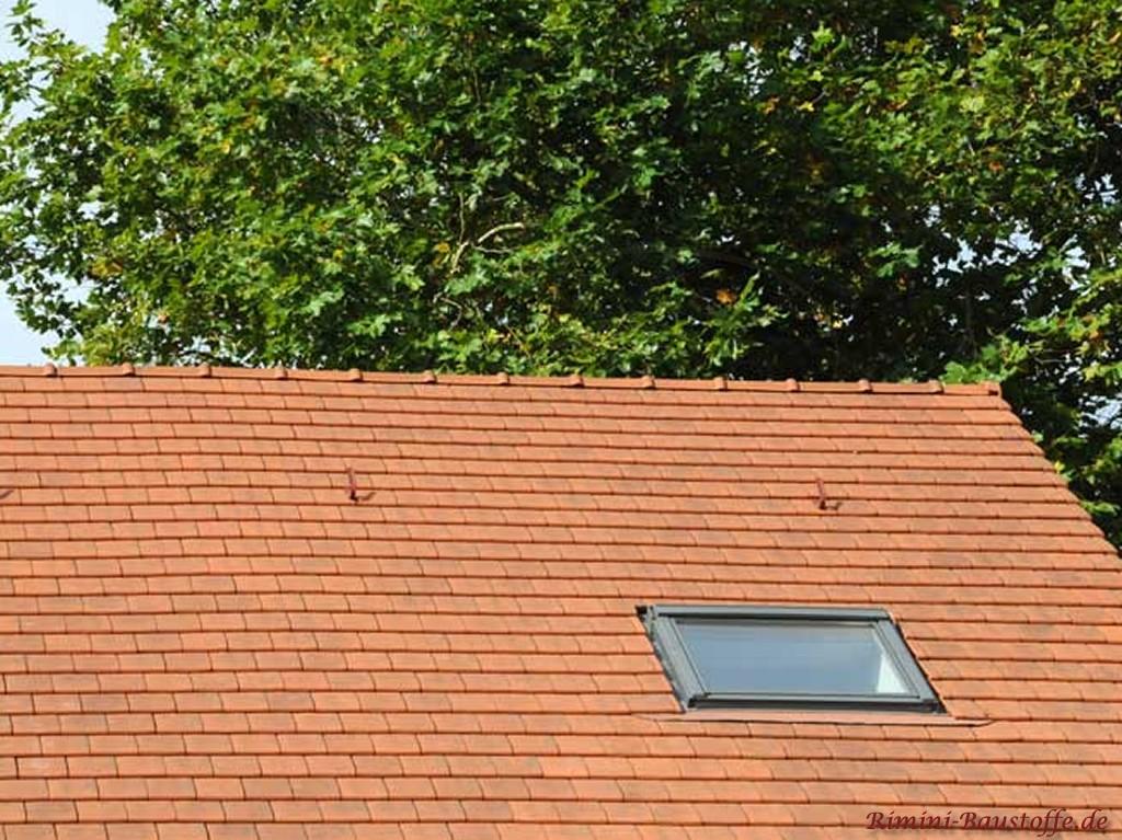schönes kräftiges rotes Dach mit Glassziegeln gedeckt