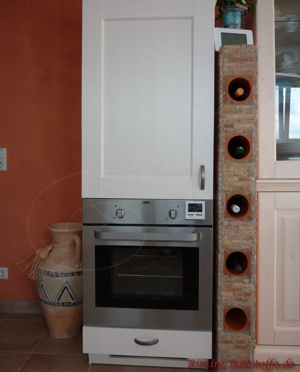 Die elegante Lösung wenn es um Küchennischen geht. Eingemauerte Weinlagerregale: