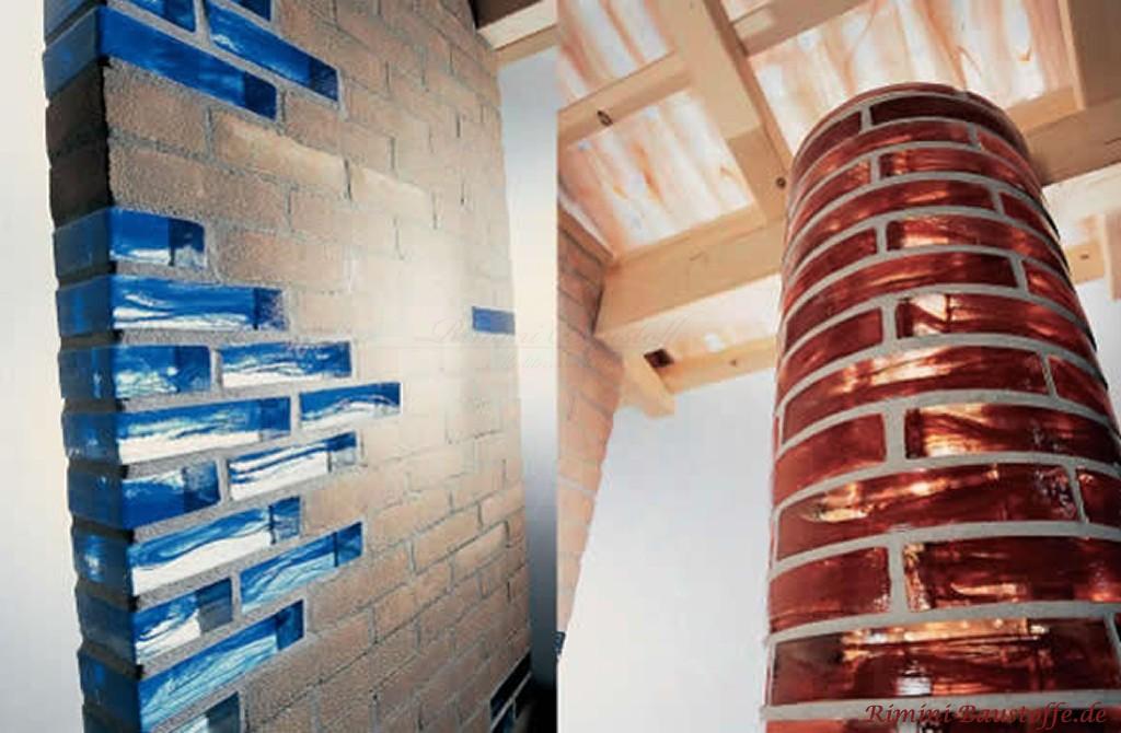 bunte Glassteine zur Auflockerung in einer Trennwand