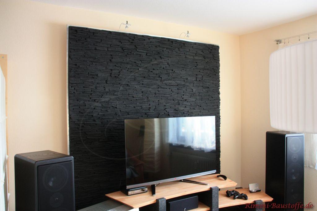 moderne Wohnzimmergestaltung in Natursteinoptik