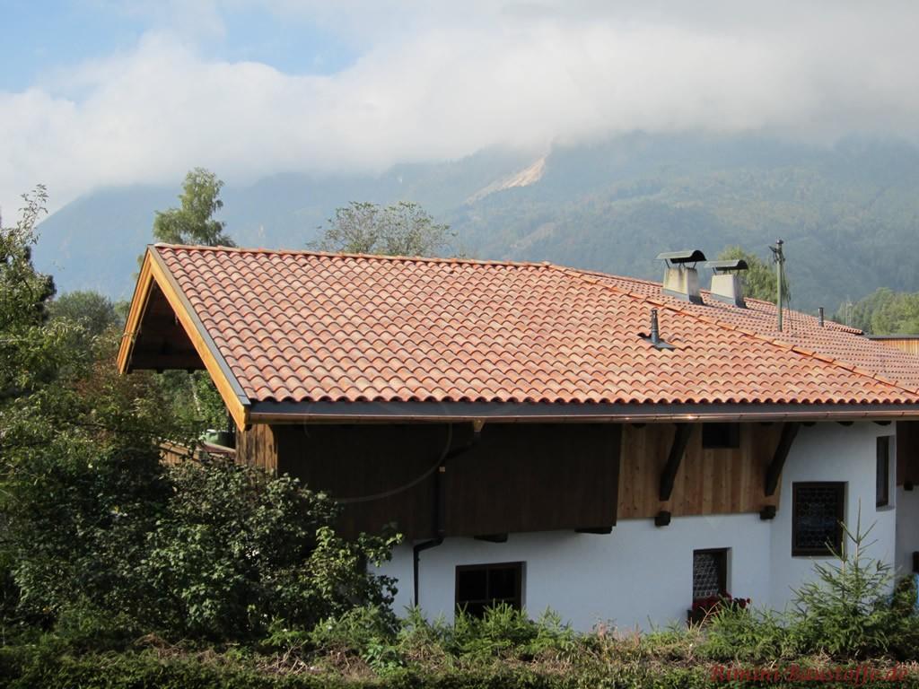 schöner romanischer Dachziegel zu einer weissen Putzfassade und dunklen Holzelementen