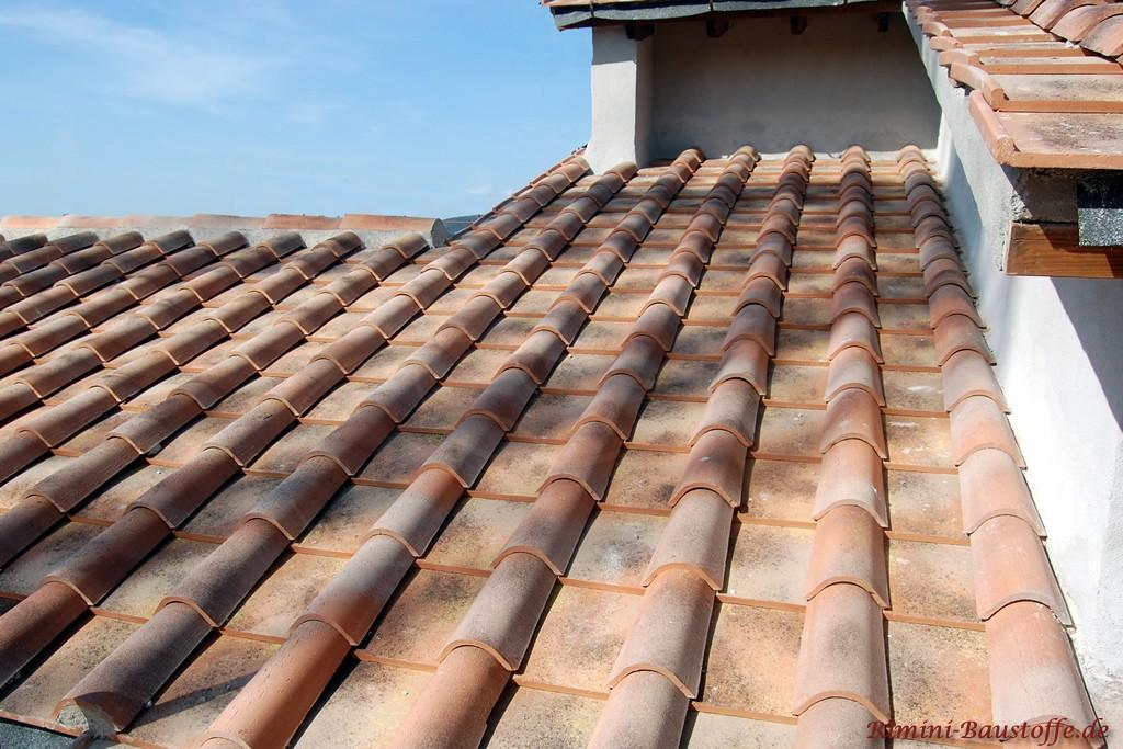 Mönch Nonne Halbschalen mit Platte auf einem Dach eingedeckt