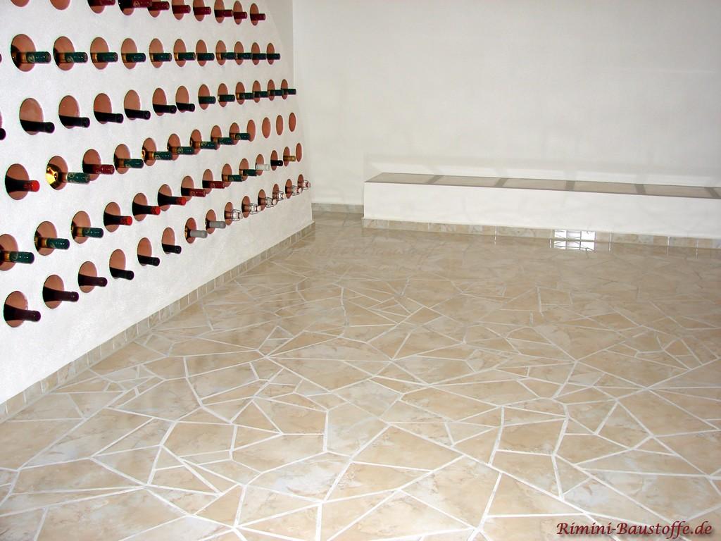Einzelne Weinlagersteine eingemauert in ein extra entworfenes Lagersystem