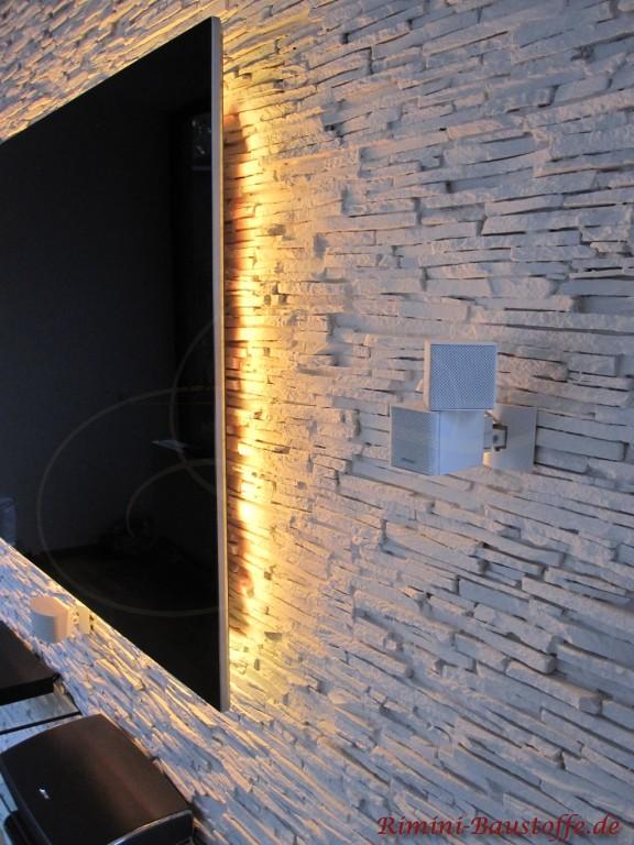 Das Highlight im Wohnzimmer: Wand in Natursteinoptik