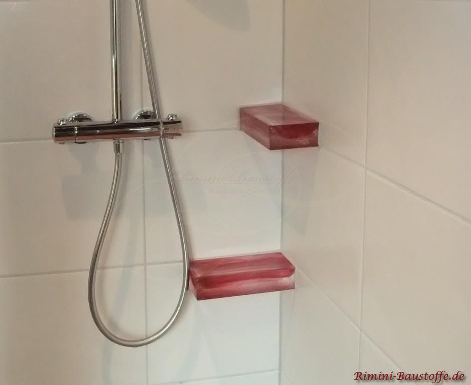 sehr schönes Highlight in der Dusche, Ablagen aus Glasbausteinen
