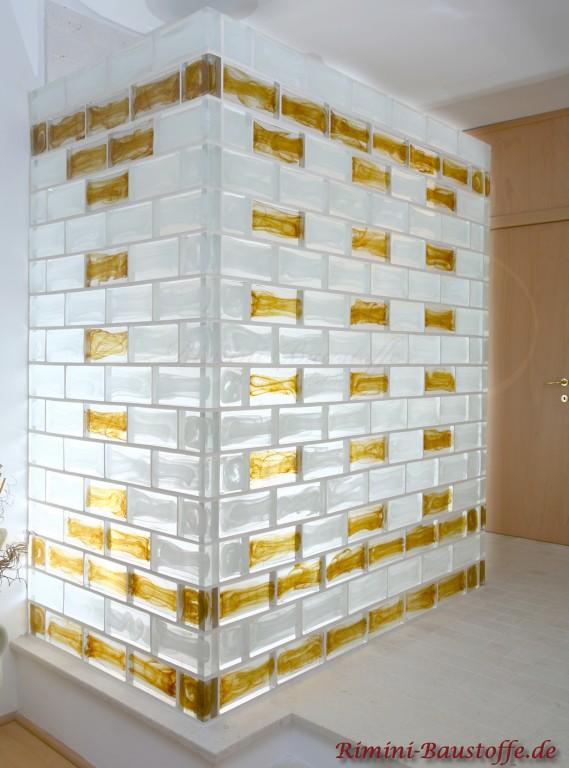 Duschwand aus Muranoglaselementen, sehr modern