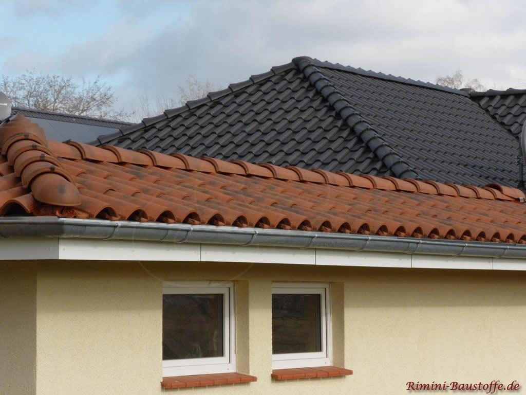 rotbrauner Dachziegel auf einer Garage