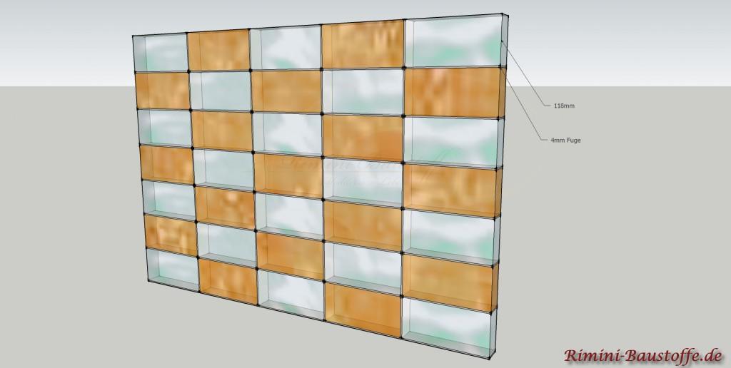 Skizze für die aufrechte Verlegung der Glaselemente