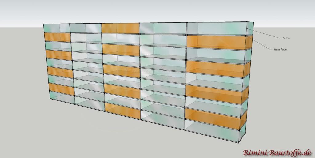 Skizze für die waagerechte Verlegung der Glaselemente