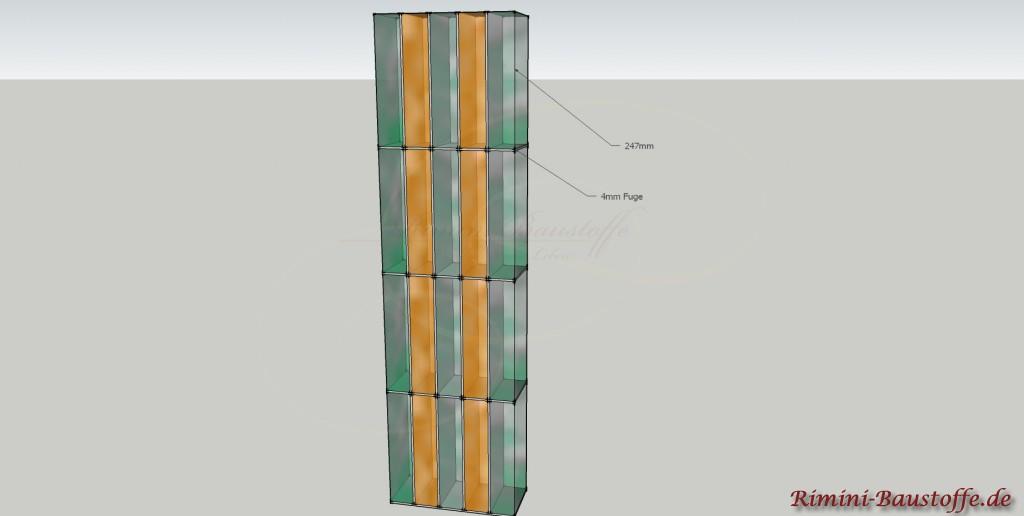 Skizze der Verlegung der Glaselemente