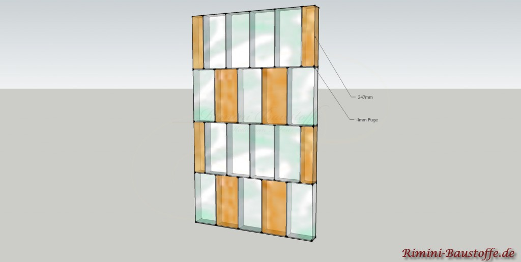 Verlegung der Glaselemente hochkant im Verbund