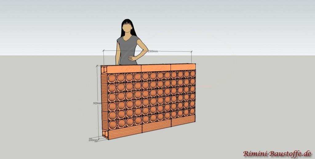 Skizze Weinlagerstein Due Mauer 6 x 6 Steine + Basen
