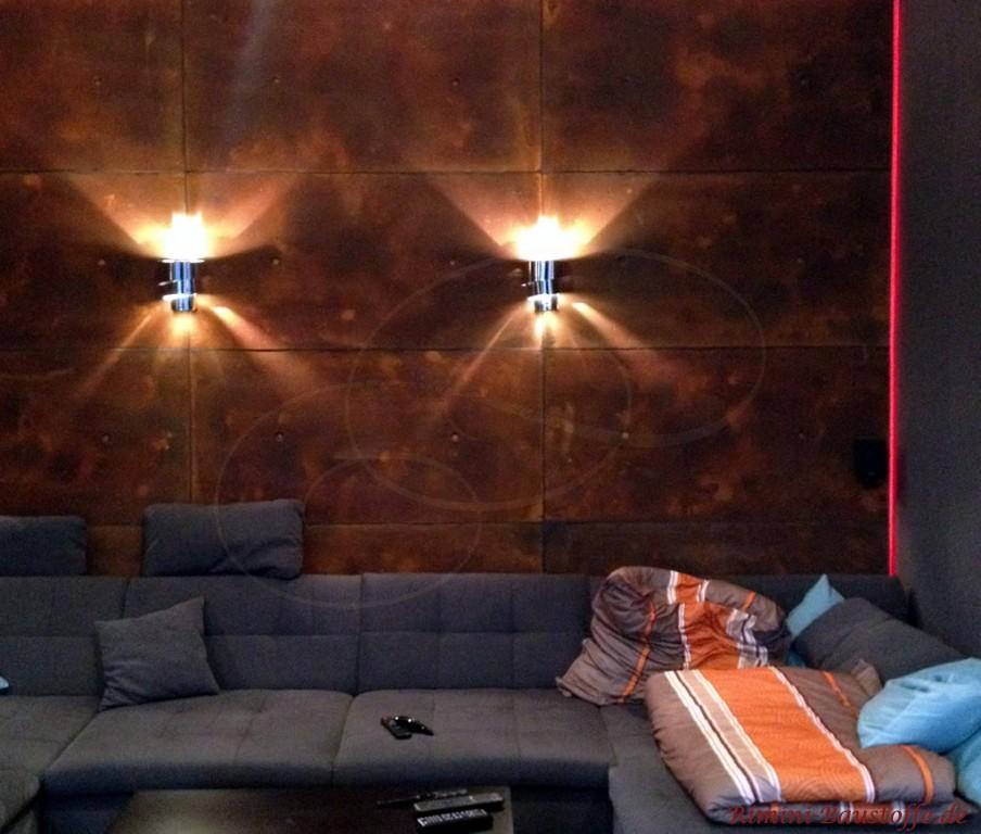 Moderne Wohnzimmergestaltung mit Paneelen in Betonoptik