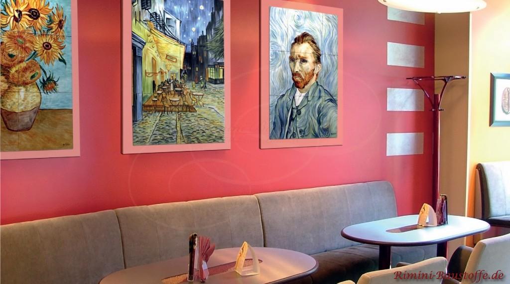 Fliesenbilder auf einem schönen Hintergrund in einem Cafe