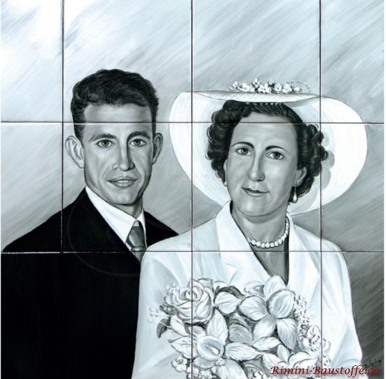 Hochzeitsportrait auf Fliesen handgemalt