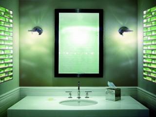 Waschbecken mit beleuchteten Glaselementen