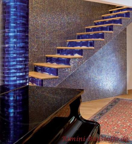Treppenstufen aus blauen Glasbausteinen