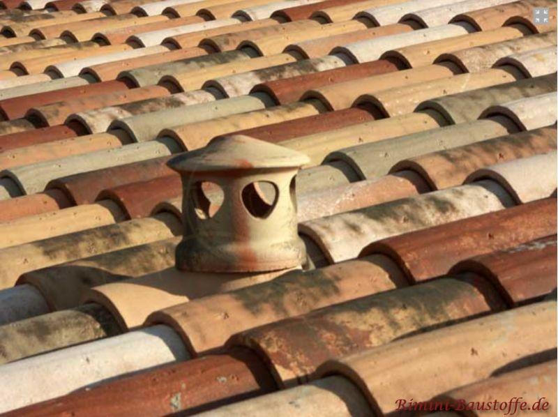 Sanitärlüfter auf einem mediterranen Dach in Herbstlaubmischung und Oberfläche in alter Optik