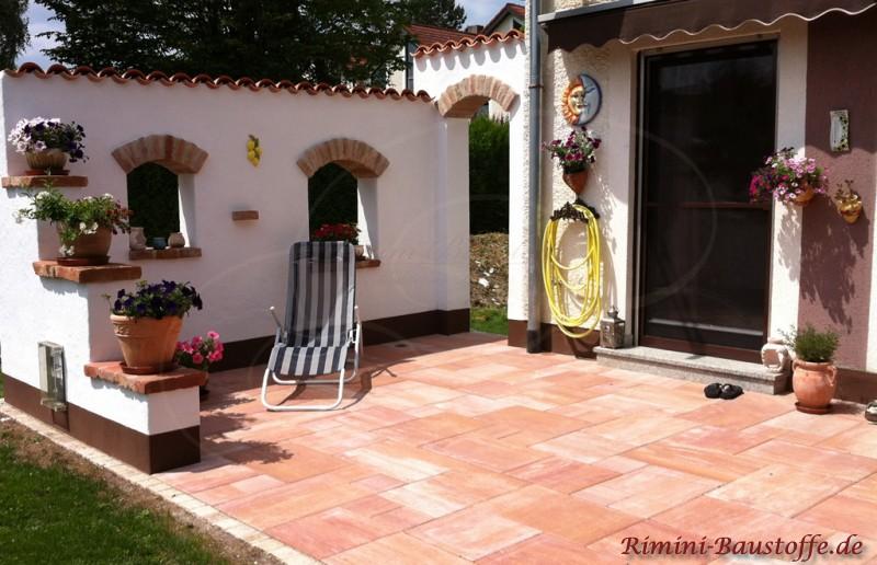 Terrassen Farbe teja curva farbe viellja castilla mediterran gestaltete terrasse