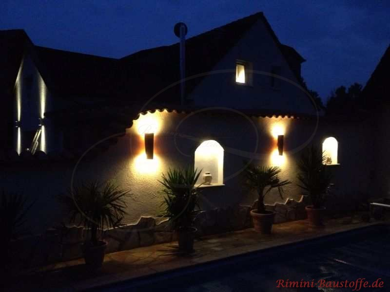 Ziegellampen im Dunkeln