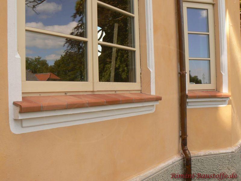 schoene Fensterbaenke zu passender Putzfassade