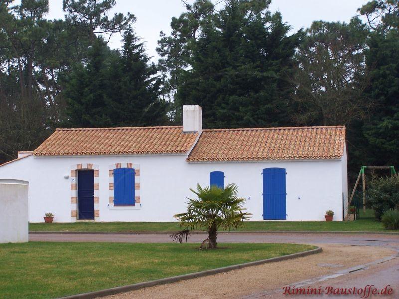 kleiner Gartenschuppen mit weißer Putzfassade und blauen Fenstern