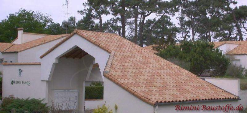 hoher weiß verputzter Torbogen mit schönen rot changierenden Dachziegeln gedeckt