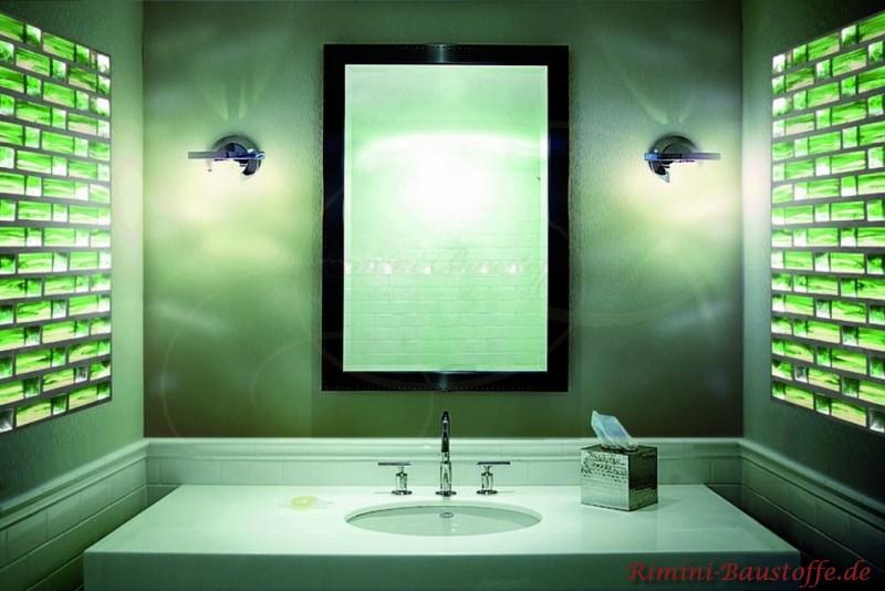 Badezimmerwand aus Glassteinen