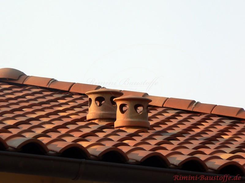 Nahaufnahme zweier Sanitärlüfter auf dem Dach