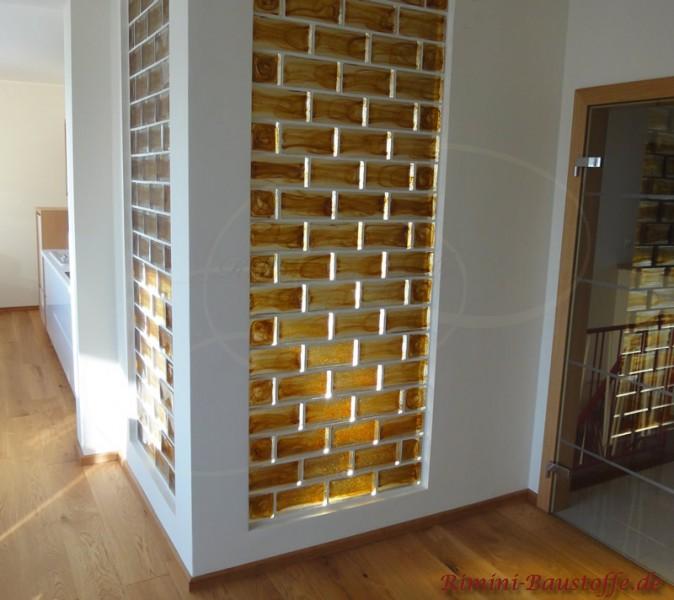 Glausbausteine in einer Wand integriert