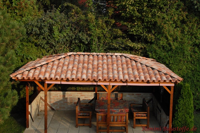 Fertig eingedecktes Minidach mit Halbschalen von oben zu sehen