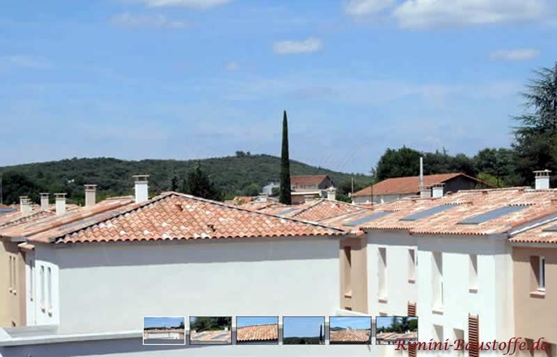 Wohngebäude im Süden mit weißer Putzfassade und schönen mediterranen Dächern