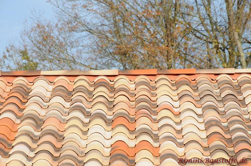 mediterrane Dachziegel mit großem Wulst und alt wirkender Oberfläche durch die dunkle Engobe